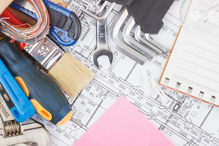 Different construction tools and drawings, top view Stock Photo