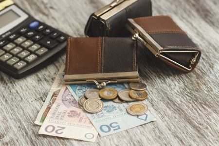 Polish zloty with little wallets and calculator on the wooden background, soft focus background