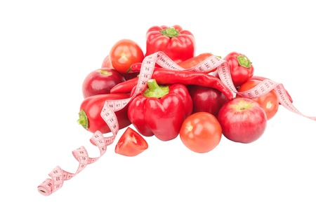 ration: Diet concept: Set from red pepper, red hot chili pepper and apples, isolated on white Stock Photo