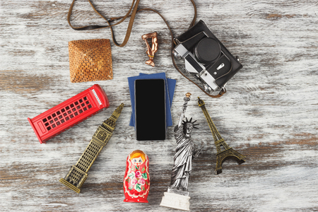 Travel and tourism background with souvenirs from around the world. View from above 스톡 콘텐츠