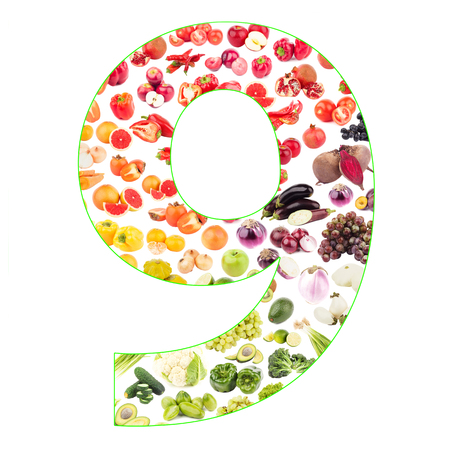 Numeral made from fruits and vegetables, isolated on white