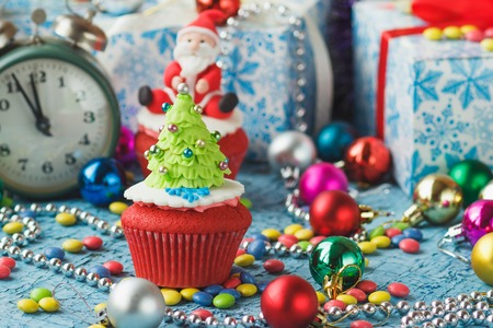 Christmas Cupcakes With Colored Decorations Christmas Tree Made From