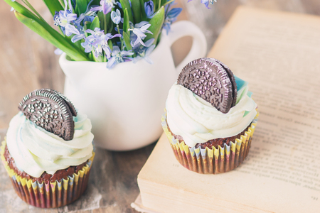 Handmade chocolate muffins with decorations. Book and a bouquet of Scilla, soft focus background
