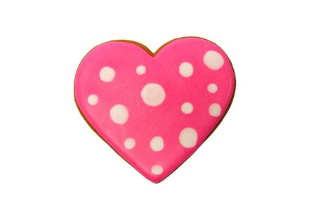 Background from pink cookie heart shaped with different patterns, isolated on the white