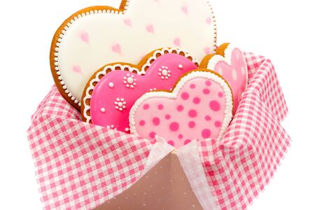 set of pink heart shaped cookies with patterns, handmade, light background Archivio Fotografico - 137767881