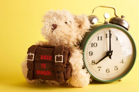 Brown teddy bear with school backpack, saturated yellow background
