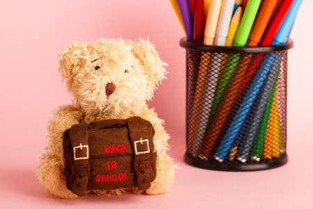 Brown teddy bear with school backpack and glass with felt-tip-pens, saturated pink background Reklamní fotografie
