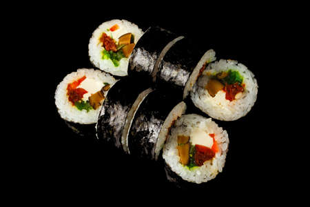 Japanese food: Set of salmon sushi and rolls with salmon and eel, top view Reklamní fotografie