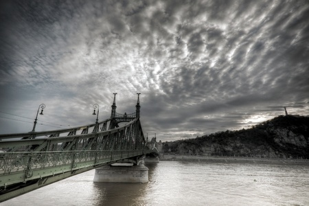 The Szabadsag Bridge at Budapest, Hungary photo