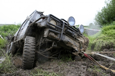an offroad car in trouble photo