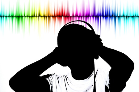 silhouette listening music on isolated background with an effect photo