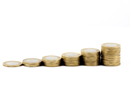 coins isolated on white background photo