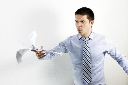 angry boss: angry boss on white background Stock Photo