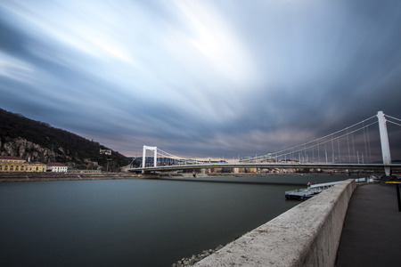 elisabeth: Moving clouds above the Elisabeth bridge at Budapest, Hungary