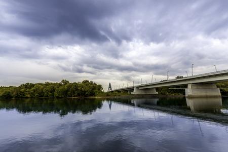 view of the Megyeri bridge at Budapest, Hungary photo