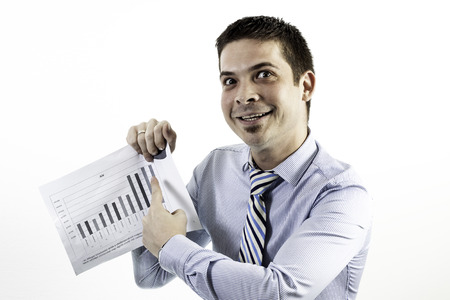causasian: funny businessman showing good result on graph Stock Photo