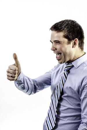 causasian: happy businessman showing bigup on white background Stock Photo