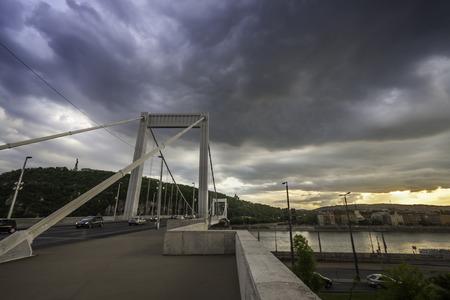 elisabeth: the Elisabeth  Erzsebet  bridge in Budapest at sunset Stock Photo