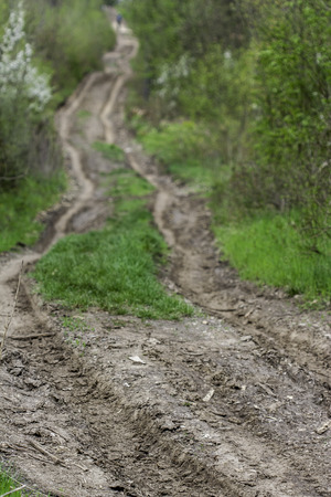 tortuous: view of a tortuous rural dirt road Stock Photo