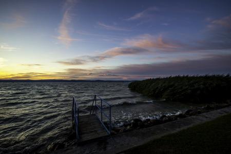 balaton: view of the sunset at lake Balaton in Hungary