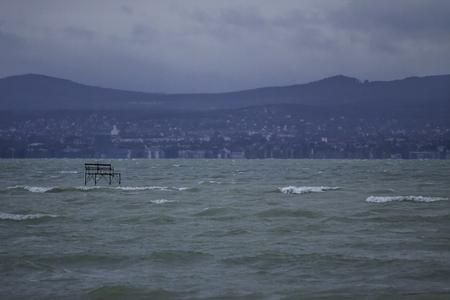 windy day: view of the lake Balaton on a windy day Stock Photo