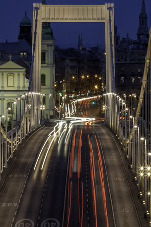 view of the Erzsebet bridge at Budapest, Hungary