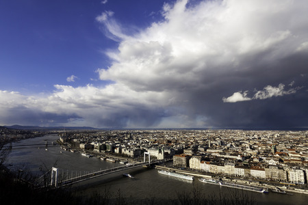 view of Budapest on a rainy day Stock Photo