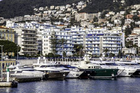 Yachts in the Old Port at Nice, France Stok Fotoğraf