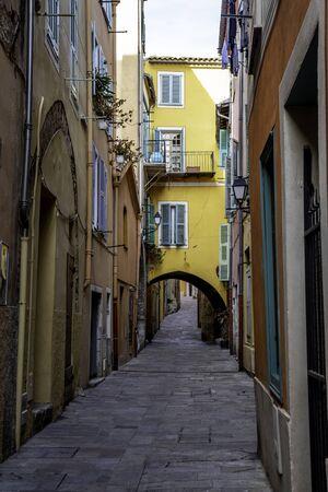 narrow street at Villefranche Sur Mer Stock Photo