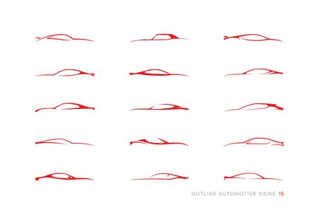 15 automotive car outline signs for your projects Vektorové ilustrace