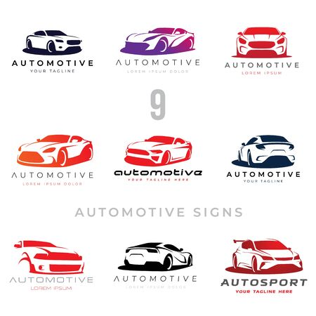 Set of 9 automotive car illustration signs for your projects