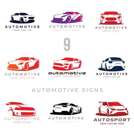 Ensemble de 9 panneaux d'illustration de voiture automobile pour vos projets