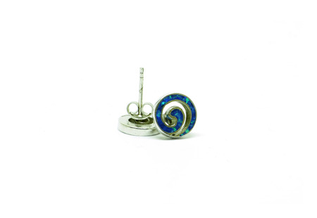 earrings: Isolated blue and silver spiral earrings over white