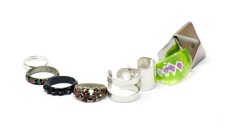 personal ornaments: Bunch of rings in different styles and sizes, vintage, rock, simple