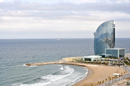 naturism: Barcelona sea shore in cloudy and rainy weather