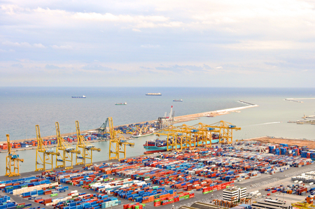 industrial landscape: Cargo dock in Barcelona in Spain in summer Archivio Fotografico