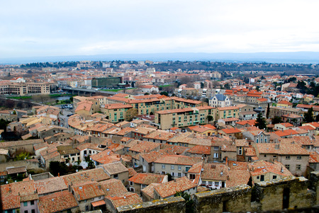 impregnable: Carcassonne view from the castle in winter to the roofs