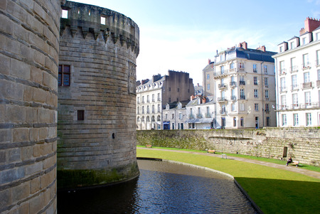 histories: View to the fortress wall in Nantes of France