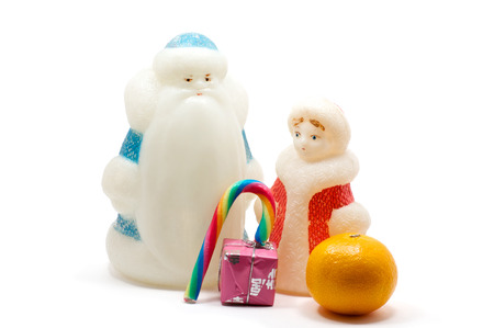 snegurochka: Isolated figures of Ded Moroz and Snegurochka over white
