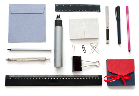 drawing compass: Isolated set of stationary  goods over white Foto de archivo