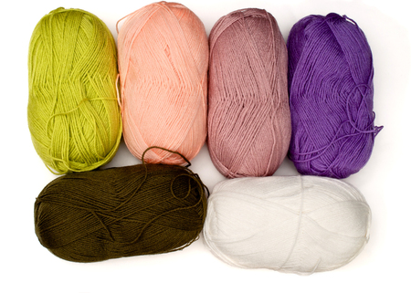 bundles: Isolated bundles of yarn in different colors over white