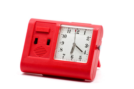 soviet union: Isolated close up of red new clock made in Soviet Union Stock Photo