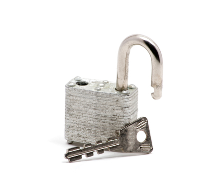 trusty: Isolated close up of silver lock and keys