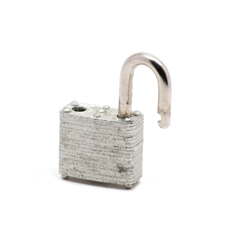 Isolated close up of silver lock  opened Stock Photo