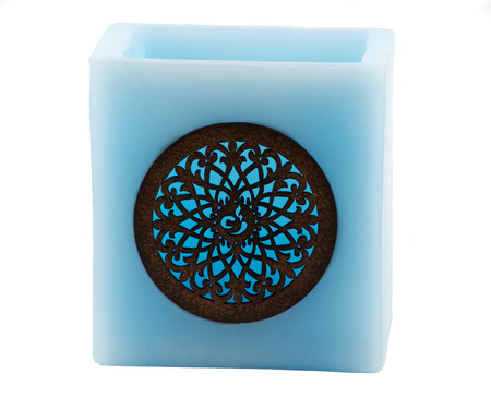 candle holder: Isolated blue Moroccan candle holder over white