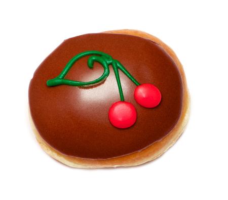 cereza: Isolated chocolate glazed donut with drawn cherries