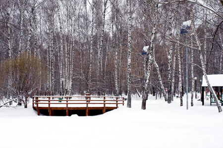 wooden railings: View to wooden railings from frozen river with a lot of snow