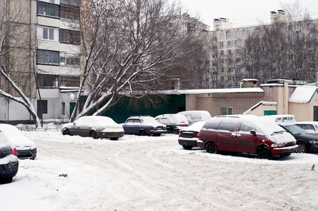 russian federation: Parked cars in Moscow in Russian Federation during winter