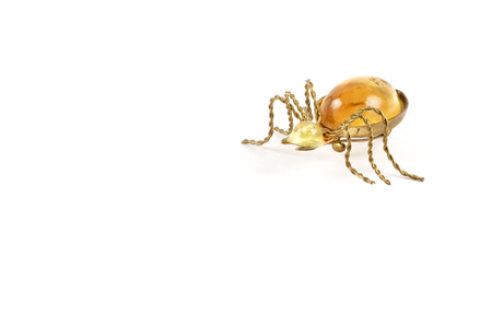 brooch: Isolated spider golden brooch with amber over white