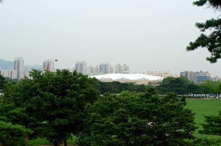 Olympic park in Seoul in summer in South Korea Stock Photo